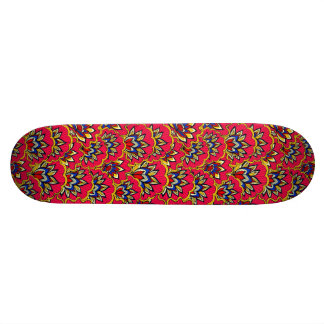 Asiatic red vibrant floral pattern skate board