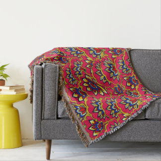 Asiatic red vibrant floral pattern throw blanket