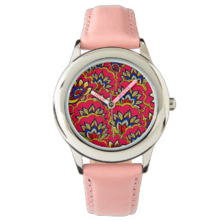 Asiatic red vibrant floral pattern watch