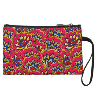 Asiatic red vibrant floral pattern wristlet