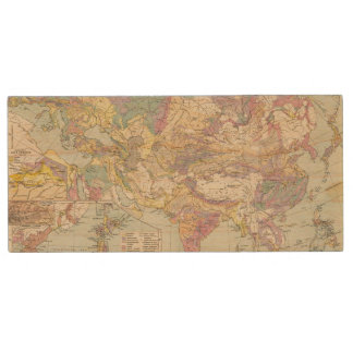 Asien u Europa - Atlas Map of Asia and Europe Wood USB 2.0 Flash Drive