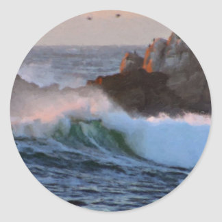 Asilomar Beach Wave Big Sur California Painted Classic Round Sticker