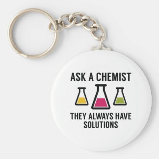 Ask A Chemist Basic Round Button Key Ring