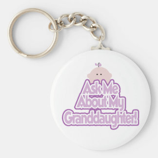 Ask About My Granddaughter Basic Round Button Key Ring