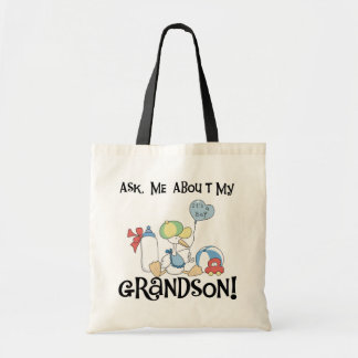 Ask About My Grandson Tshirts and Gifts Tote Bags