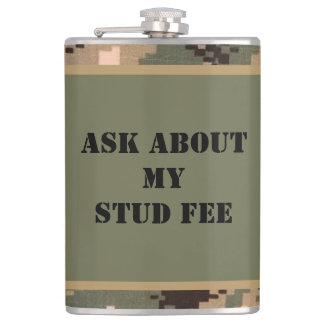 """Ask About My Stud Fee"" - Black with Camouflage Hip Flask"