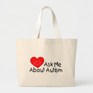 Ask Me About Autism (Heart) Large Tote Bag