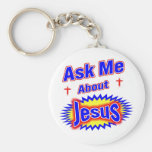 Ask Me About Jesus Basic Round Button Key Ring