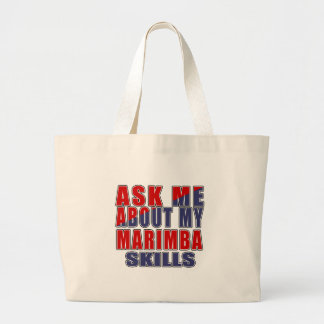 ASK ME ABOUT MARIMBA MUSIC LARGE TOTE BAG