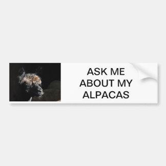 ASK ME ABOUT MY ALPACAS BUMPER STICKER