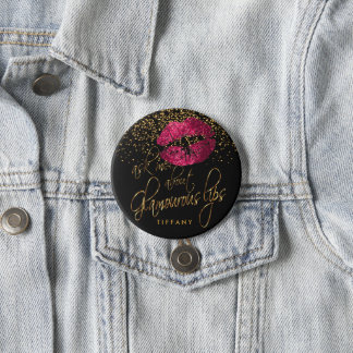 Ask Me About my Glamorous Lips- Hot Pink 7.5 Cm Round Badge
