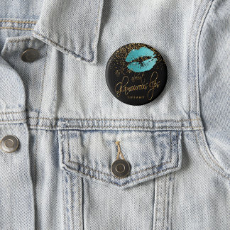 Ask Me About my Glamorous Lips - Teal Blue 6 Cm Round Badge