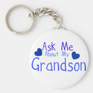 Ask me about my Grandson! Basic Round Button Key Ring