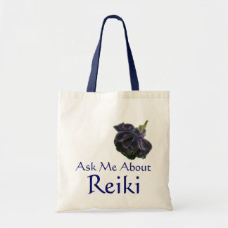 Ask Me About Reiki Purple Rose Tote Bag