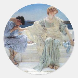 Ask Me No More by Alma Tadema, Vintage Romanticism Classic Round Sticker