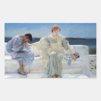 Ask Me No More by Alma Tadema, Vintage Romanticism Rectangular Sticker