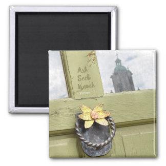 Ask Seek Knock Vintage Door Magnet