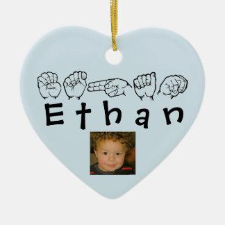 ASL American Sign Language Fingerspelled Ethan Ceramic Ornament