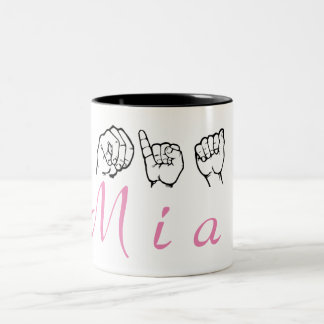 ASL American Sign Language Fingerspelled Mia Two-Tone Coffee Mug