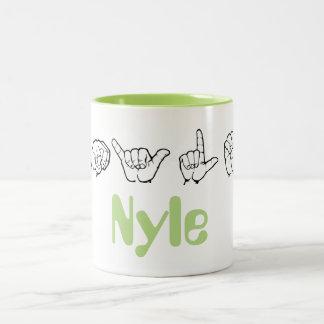 ASL American Sign Language Fingerspelled Nyle Two-Tone Coffee Mug
