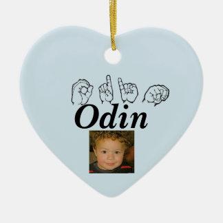 ASL American Sign Language Fingerspelled Odin Ceramic Ornament