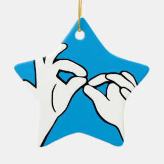 ASL American Sign Language INTERPRET Ceramic Ornament