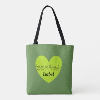 ASL Custom Name Isabel Fingerspell Alphabet Tote Bag