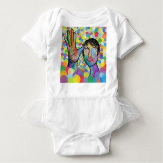 ASL FATHER on Bright Bubble Background Baby Bodysuit
