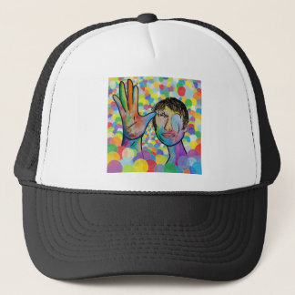 ASL FATHER on Bright Bubble Background Trucker Hat