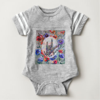 ASL Flowers and I Love You Baby Bodysuit