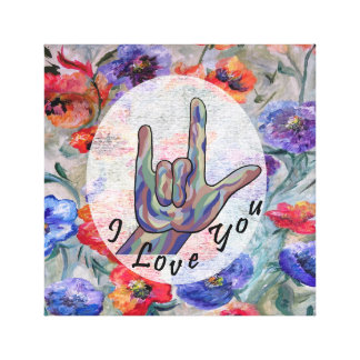 ASL Flowers and I Love You Canvas Print