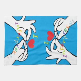 ASL I HEART my INTERPRETER Tea Towel