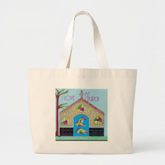 ASL I Love my Church Large Tote Bag