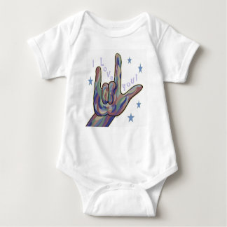 ASL I Love You Denim and Camouflage Colors Baby Bodysuit