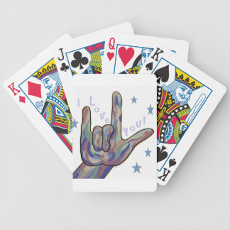 ASL I Love You Denim and Camouflage Colors Bicycle Playing Cards