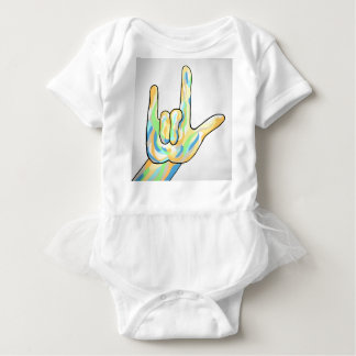 ASL I Love You Gray Baby Bodysuit