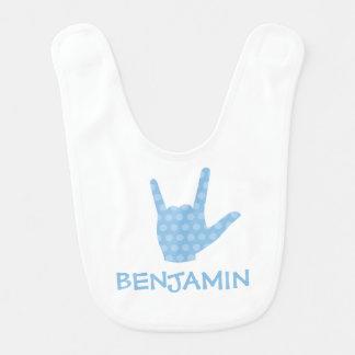 ASL I Love You Sign Language Boy Name Baby Bib