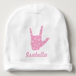 ASL I Love You Sign Language Girl Name Baby Beanie