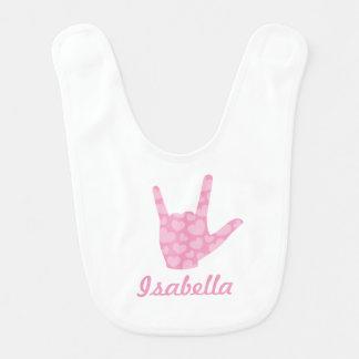 ASL I Love You Sign Language Girl Name Baby Bib