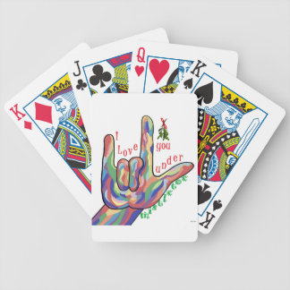 ASL I Love You Under Mistletoe Bicycle Playing Cards