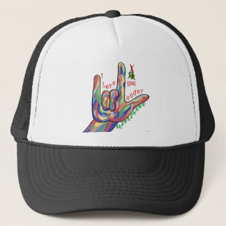 ASL I Love You Under Mistletoe Trucker Hat
