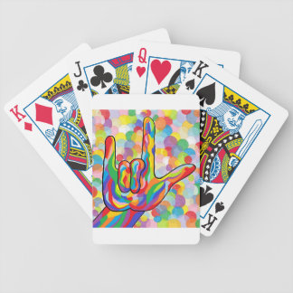 ASL I Love You with Bubble Background Bicycle Playing Cards
