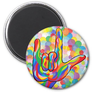 ASL I Love You with Bubble Background Magnet