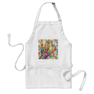 ASL I Love You with Bubble Background Standard Apron