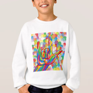 ASL I Love You with Bubble Background Sweatshirt