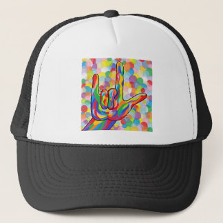 ASL I Love You with Bubble Background Trucker Hat