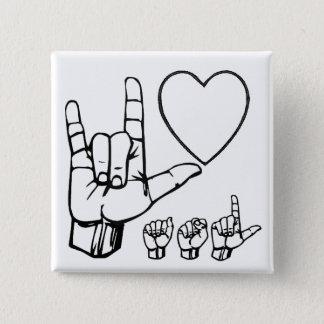 asl love, heart, asl 15 cm square badge