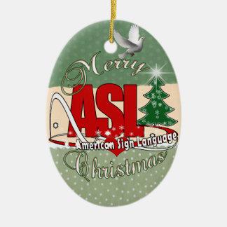 ASL MERRY CHRISTMAS - AMERICAN SIGN LANGUAGE CERAMIC ORNAMENT
