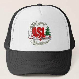 ASL MERRY CHRISTMAS - AMERICAN SIGN LANGUAGE TRUCKER HAT