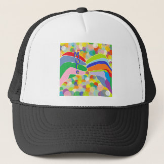 """ASL """"MORE"""" on a Bright Bubble Background Trucker Hat"""